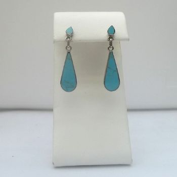 Chilean teardrop post earring with Turquoise